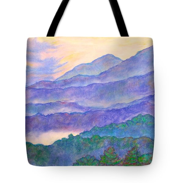 Misty Blue Ridge Tote Bag by Kendall Kessler