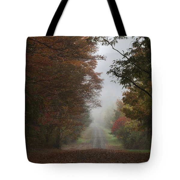 Misty Fall Morning Tote Bag