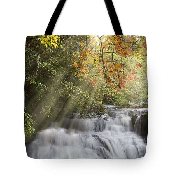 Misty Falls At Coker Creek Tote Bag by Debra and Dave Vanderlaan