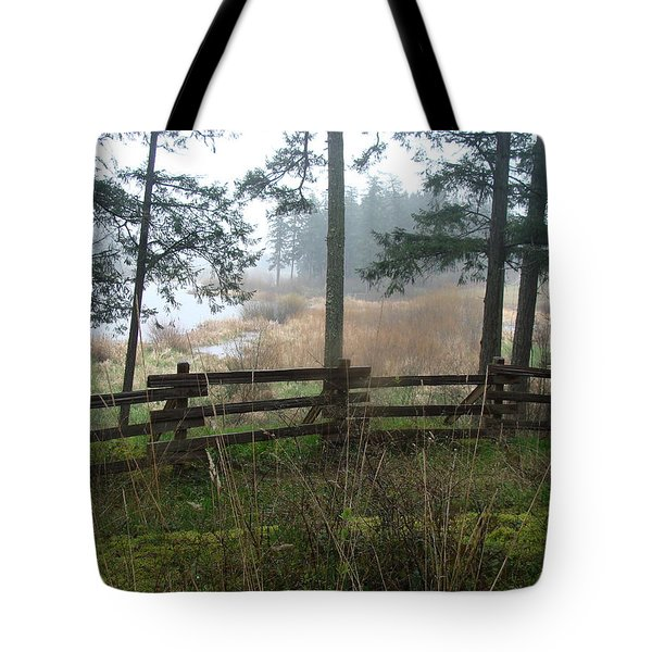Tote Bag featuring the photograph Misty Flats by Cheryl Hoyle