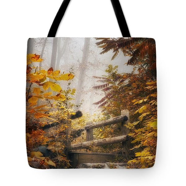 Misty Footbridge Tote Bag