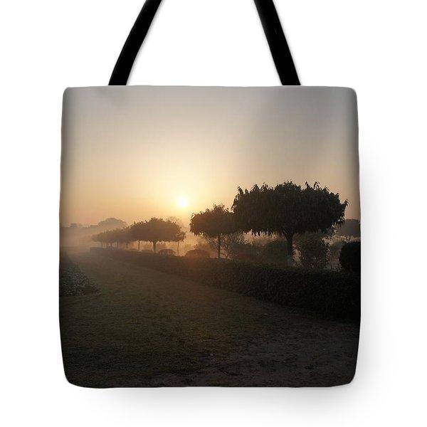 Misty Garden In The Morning Light Tote Bag