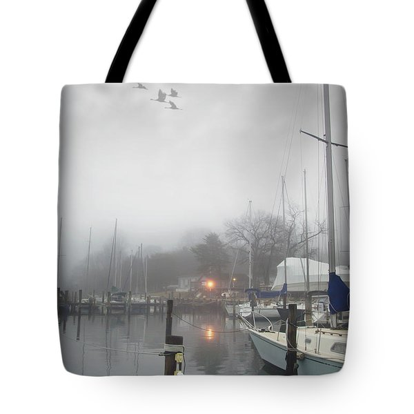 Misty Harbor Lights Tote Bag by Brian Wallace