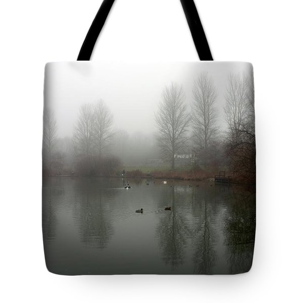 Misty Lake Reflections Tote Bag