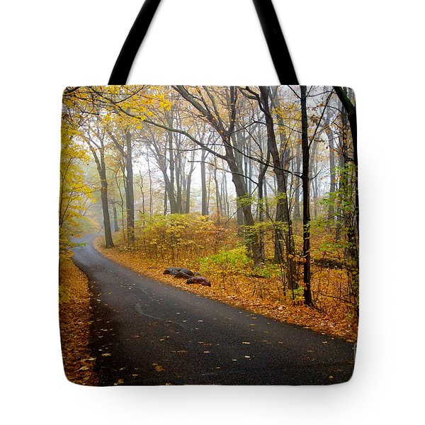 Tote Bag featuring the photograph Misty Minnesota Mile by Jacqueline Athmann