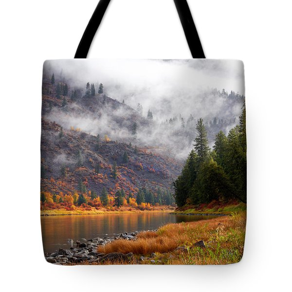 Misty Montana Morning Tote Bag
