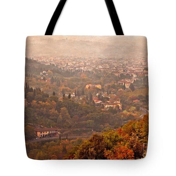 Misty Morn O'er Florence Tote Bag