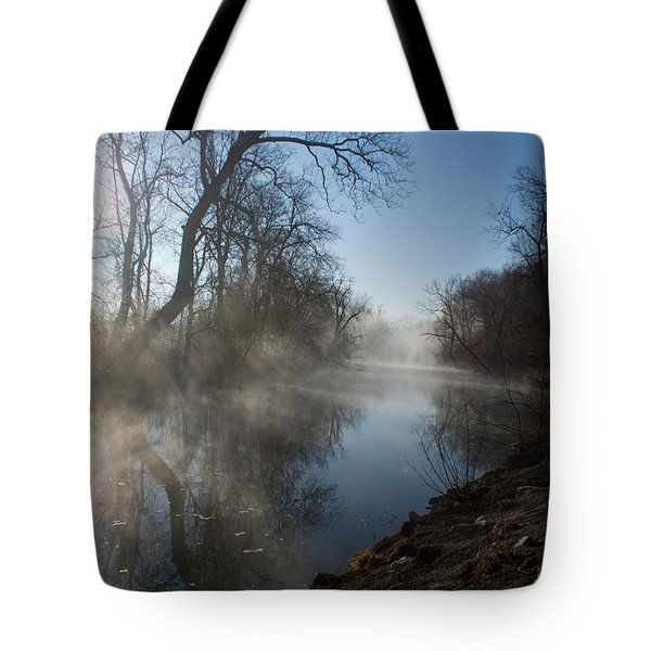 Misty Morning Along James River Tote Bag