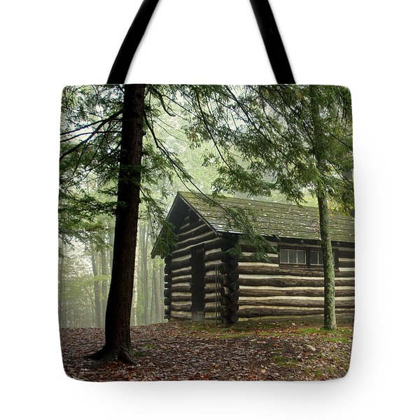 Misty Morning Cabin Tote Bag