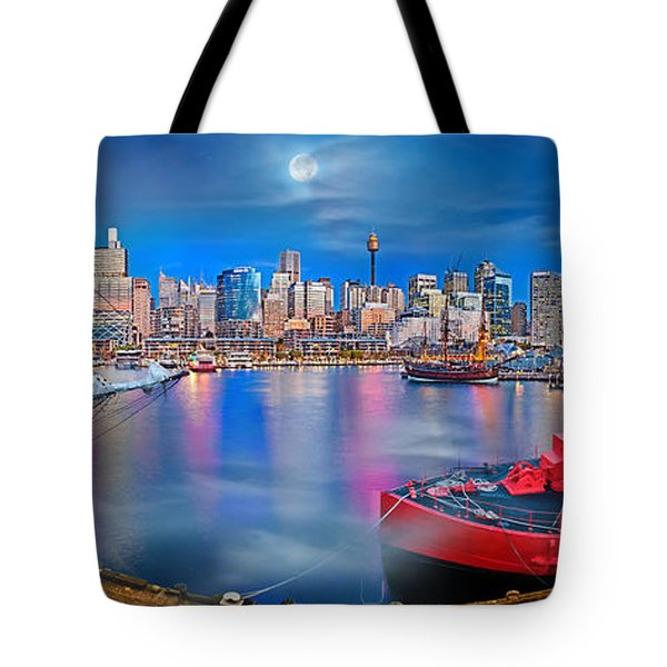 Misty Morning Harbour Tote Bag