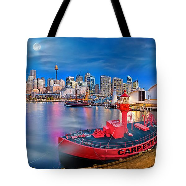 Misty Morning Harbour Tote Bag