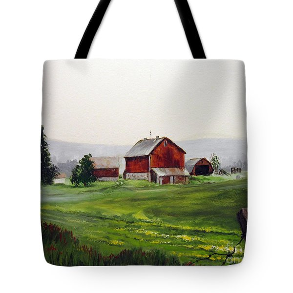 Misty Morning In Apulia Tote Bag