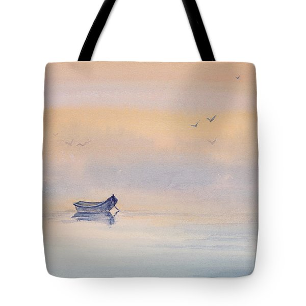 Misty Morning Peace Watercolor Painting Tote Bag