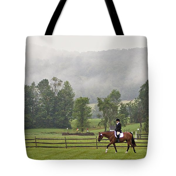 Misty Morning Ride Tote Bag by Joan Davis