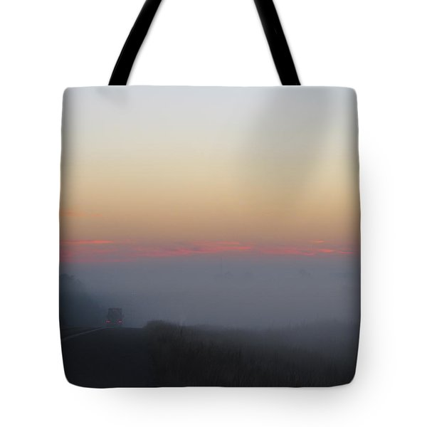 Misty Morning Road Tote Bag