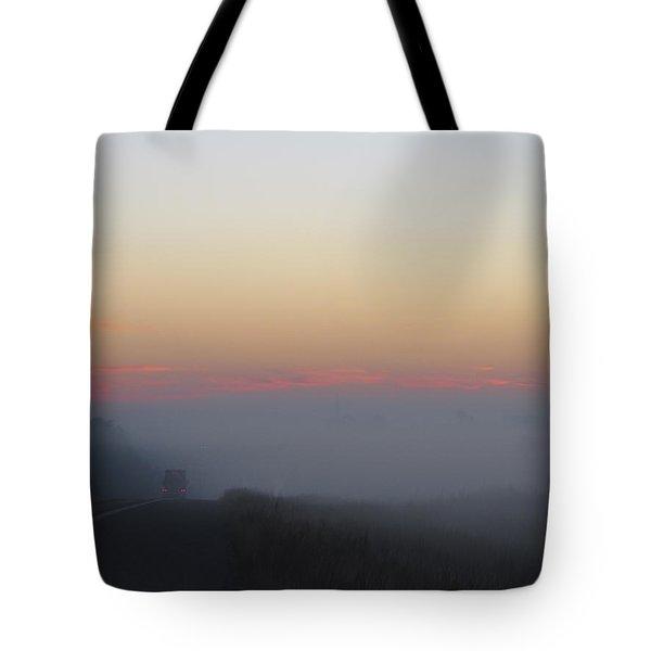 Misty Morning Road Tote Bag