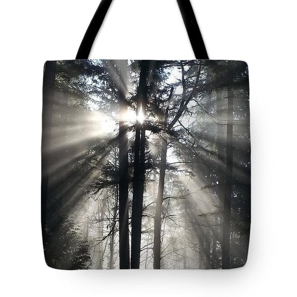 Misty Morning Sunrise Tote Bag by Crista Forest