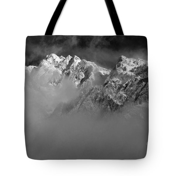 Misty Mountains In Mono Tote Bag
