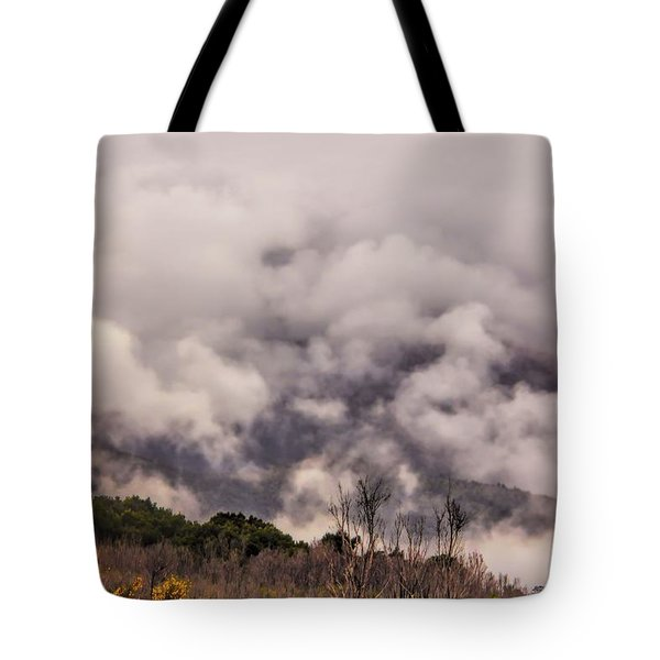 Tote Bag featuring the photograph Misty Mountains by Wallaroo Images