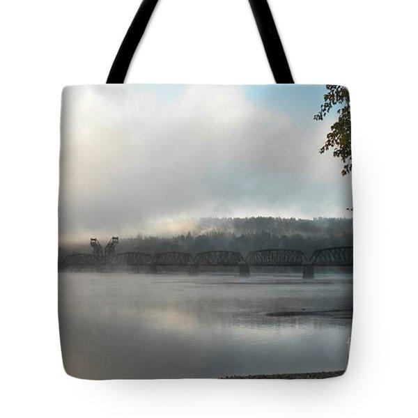Misty Railway Bridge Tote Bag