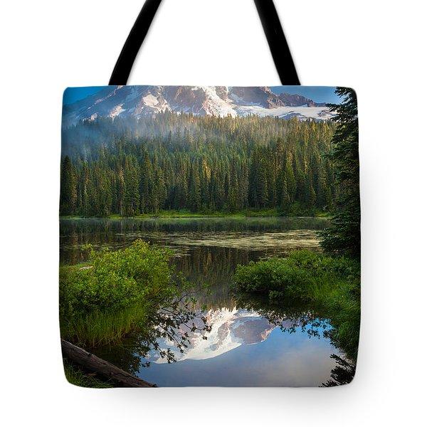 Misty Rainier Dawn Tote Bag by Inge Johnsson