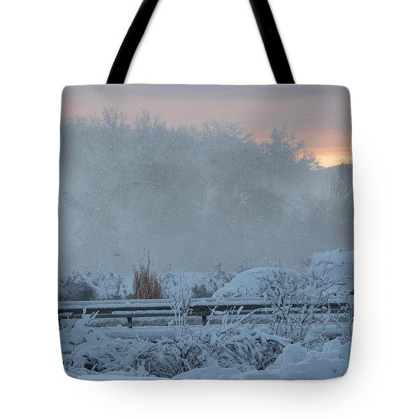 Misty Snow Morning Tote Bag