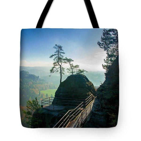 Misty Sunrise On Neurathen Castle Tote Bag