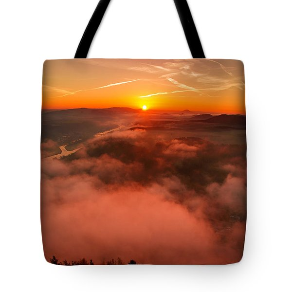Misty Sunrise On The Lilienstein Tote Bag
