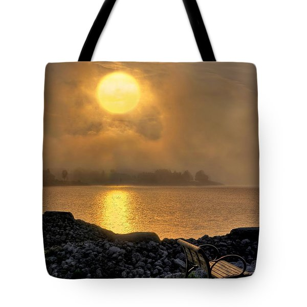 Misty Sunset At The Bay Tote Bag