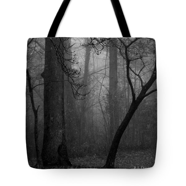 Misty Woods Tote Bag by Rebecca Davis