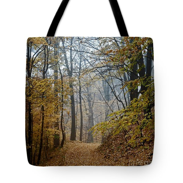 Misty Yellow Tote Bag by Barbara McMahon