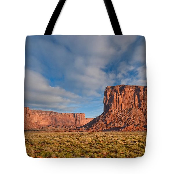 Tote Bag featuring the photograph Mitchell Butte And Gray Whiskers In The Evening Light by Jeff Goulden