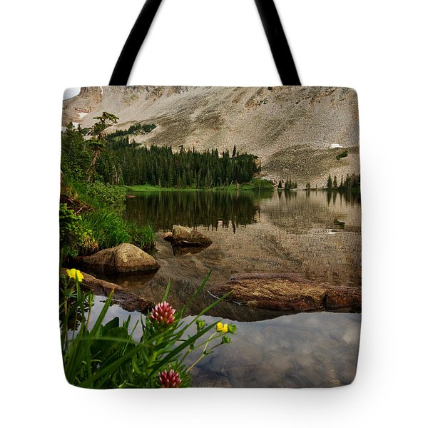 Mitchell Lake Reflections Tote Bag by Ronda Kimbrow