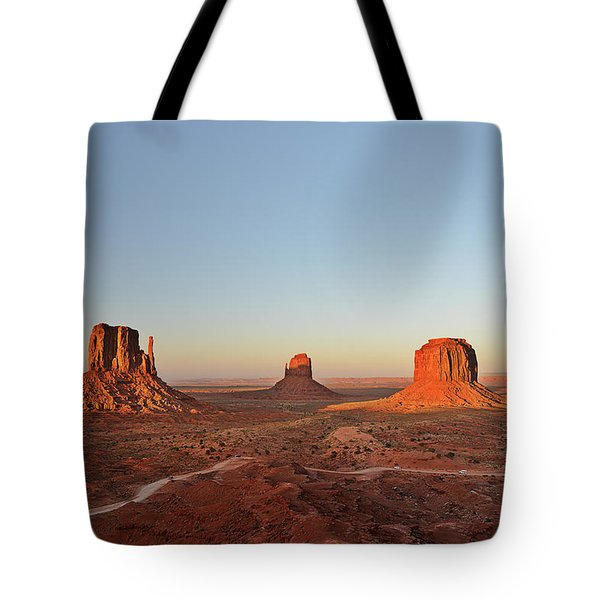 Mittens And Merrick Butte Monument Valley Tote Bag by Christine Till