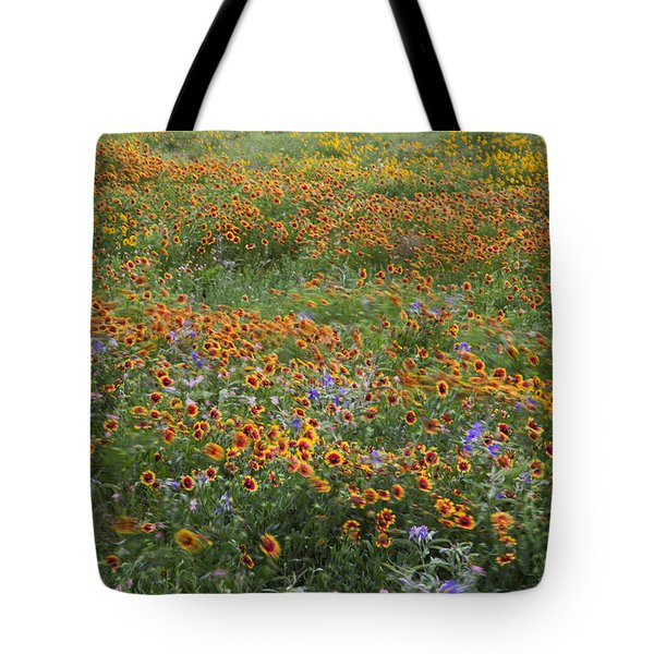 Mixed Wildflowers Blowing Tote Bag