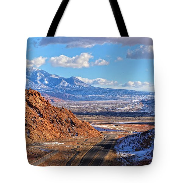 Moab Fault Medium Panorama Tote Bag by Adam Jewell