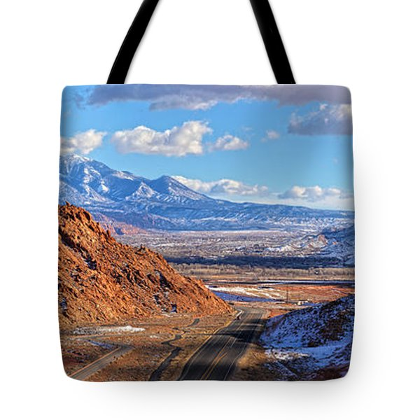 Moab Fault Panorama Tote Bag by Adam Jewell