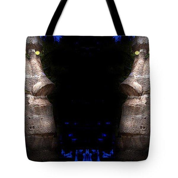 Moai Silver Tote Bag by Gunter Nezhoda