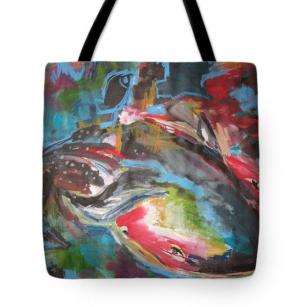 Mobie Joe The Whale-original Abstract Whale Painting Acrylic Blue Red Green Tote Bag by Seon-Jeong Kim