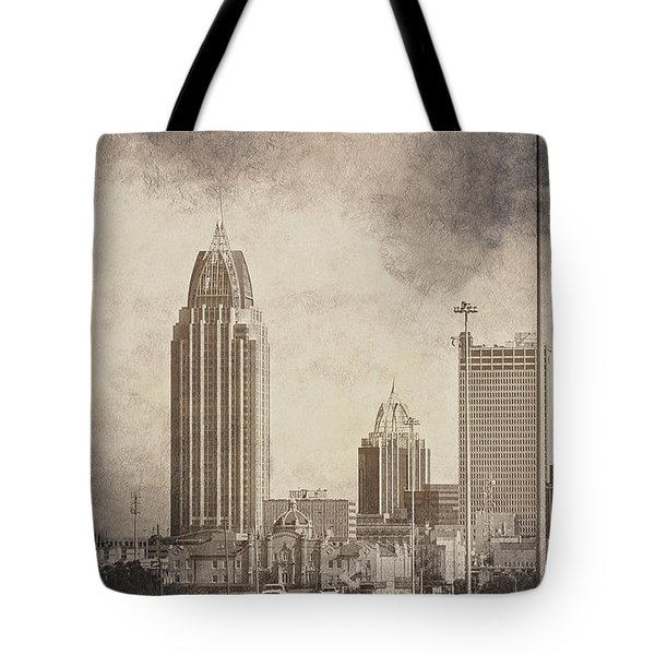 Mobile Alabama Black And White Tote Bag