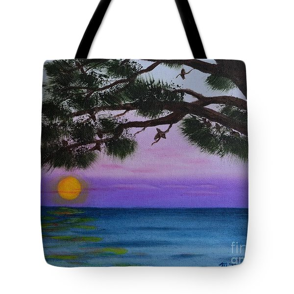 Tote Bag featuring the painting Mobile Bay Sunset by Melvin Turner