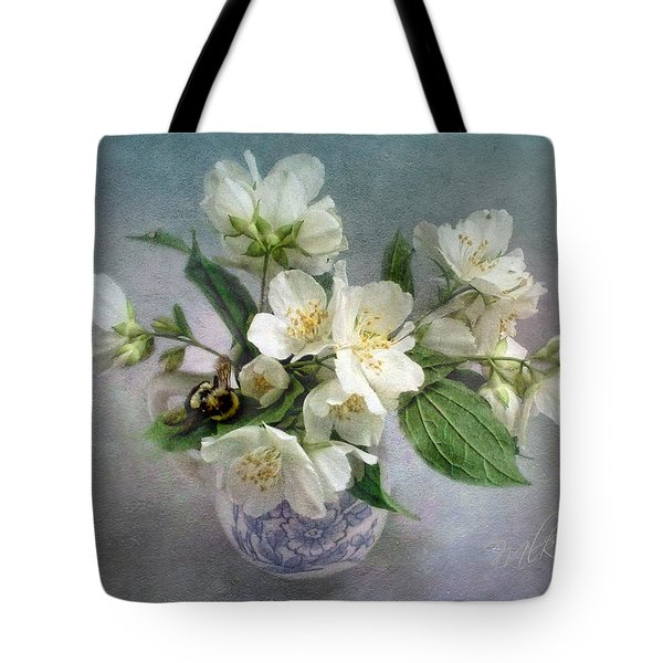Sweet Mock Orange Blossom Bouquet With Bumble Bee  Tote Bag by Louise Kumpf