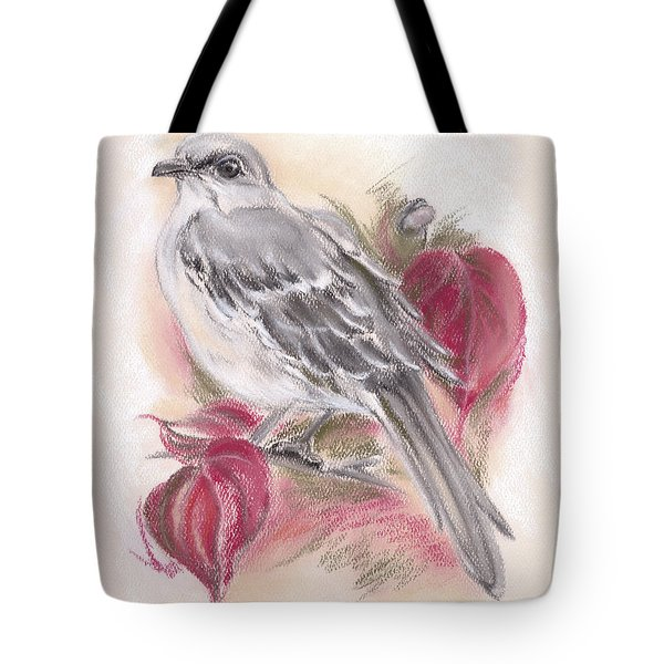 Mockingbird In Autumn Dogwood Tote Bag