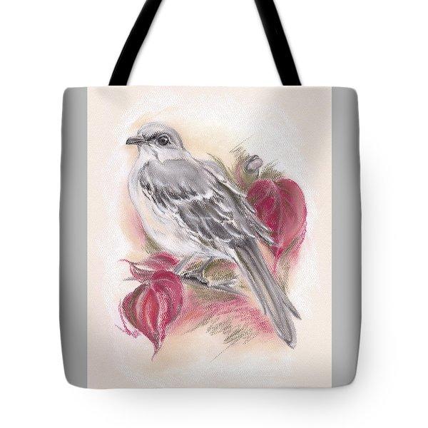 Mockingbird In Autumn Dogwood Tote Bag
