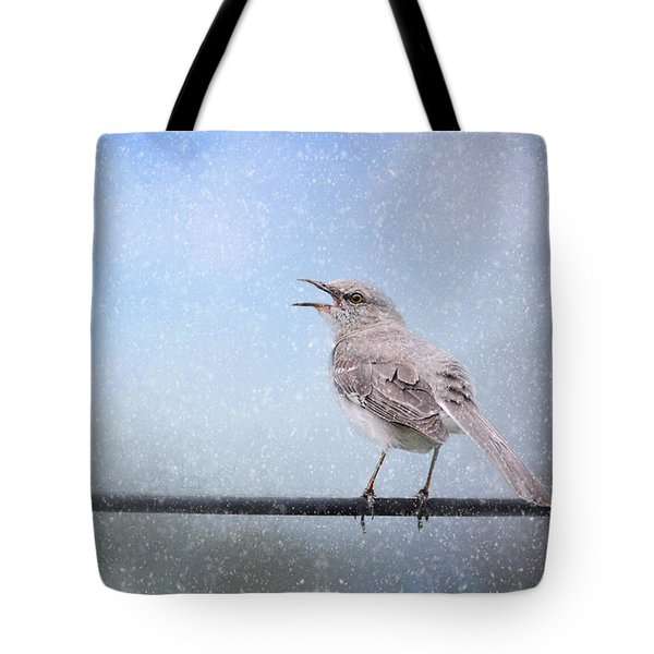 Mockingbird In The Snow Tote Bag