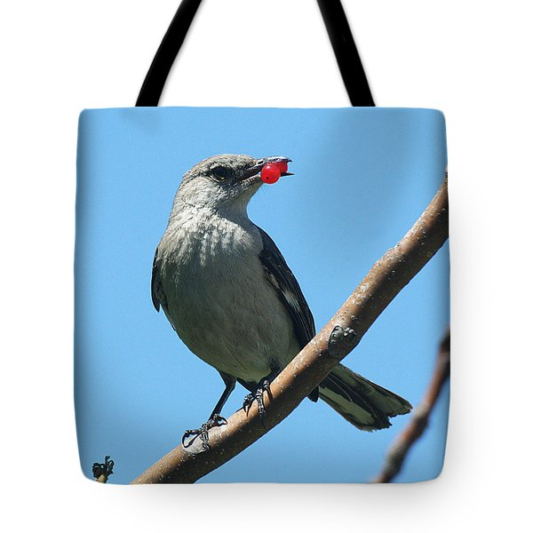 Mockingbird With Berries Tote Bag