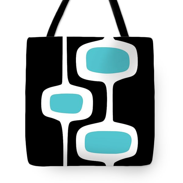 Tote Bag featuring the digital art Mod Pod 2 White On Black by Donna Mibus