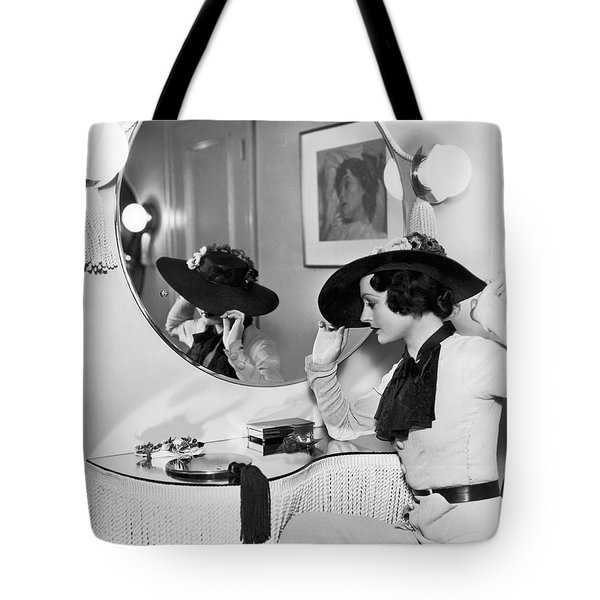 Model In Front Of A Mirror Tote Bag