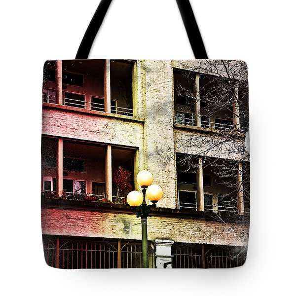 Tote Bag featuring the digital art Modern Grungy City Building  by Valerie Garner
