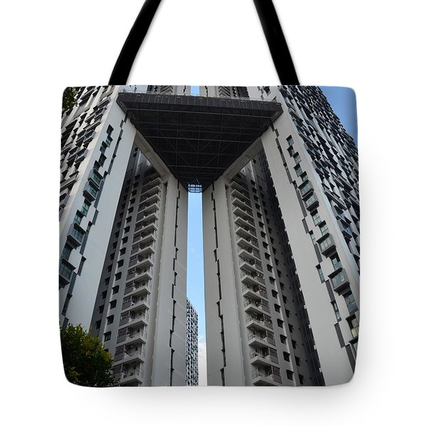 Tote Bag featuring the photograph Modern Skyscraper Apartment Building Singapore by Imran Ahmed